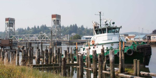 Bridge and tugboat in Aberdeen, Washington