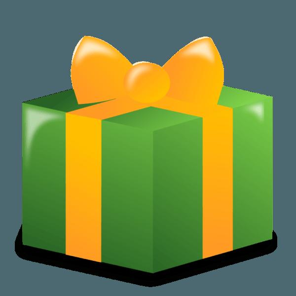 Green and yellow christmas gift